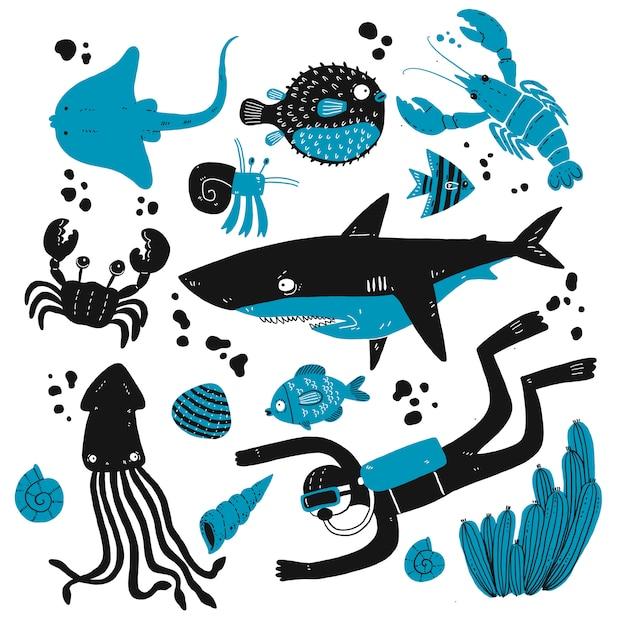 Serie di schizzi di creature del mare profondo. Vettore Premium