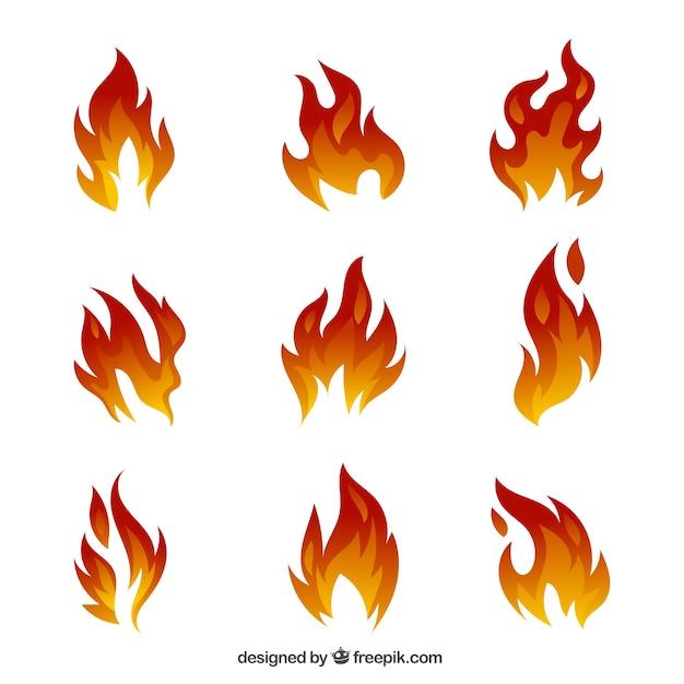 Serie impressionante di fiamme Vettore gratuito