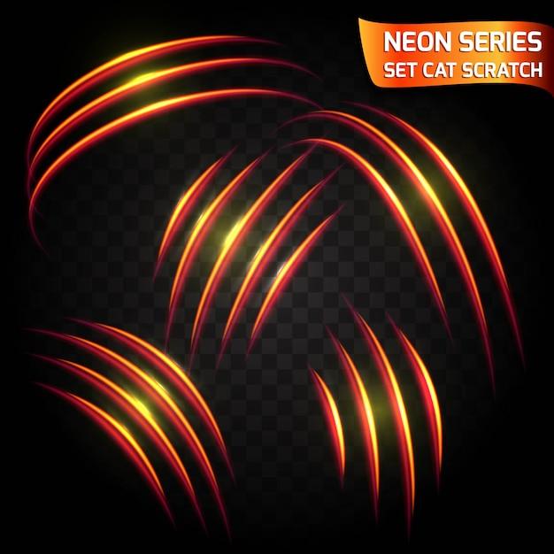 Serie neon serie di graffi di gatto. effetto luminoso al neon luminoso. crepa d'ardore astratta, effetto rosso brillante d'imitazione di velocità. Vettore Premium