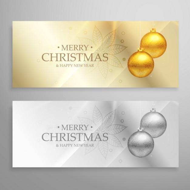 Serie premium di due striscioni di natale con palle d'oro e d'argento Vettore gratuito