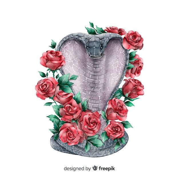 Serpente con sfondo di fiori Vettore gratuito