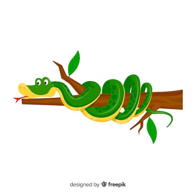 Serpente di cartone animato ferito su uno sfondo di ramo Vettore gratuito