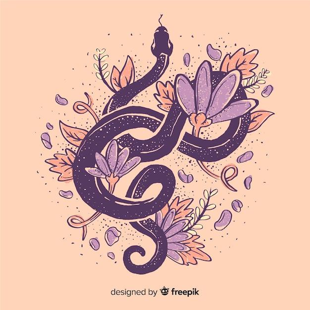 Serpente disegnato a mano circondato da fiori Vettore gratuito