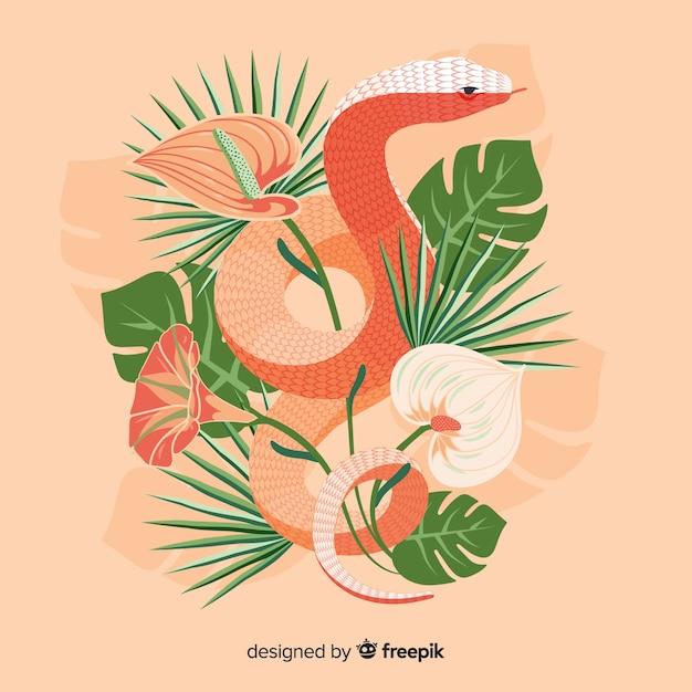 Serpente disegnato a mano con fiori Vettore gratuito