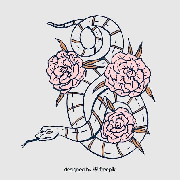 Serpente disegnato a mano con illustrazione di fiori Vettore gratuito