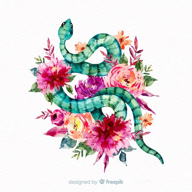 Serpente disegnato a mano con sfondo di fiori colorati Vettore gratuito