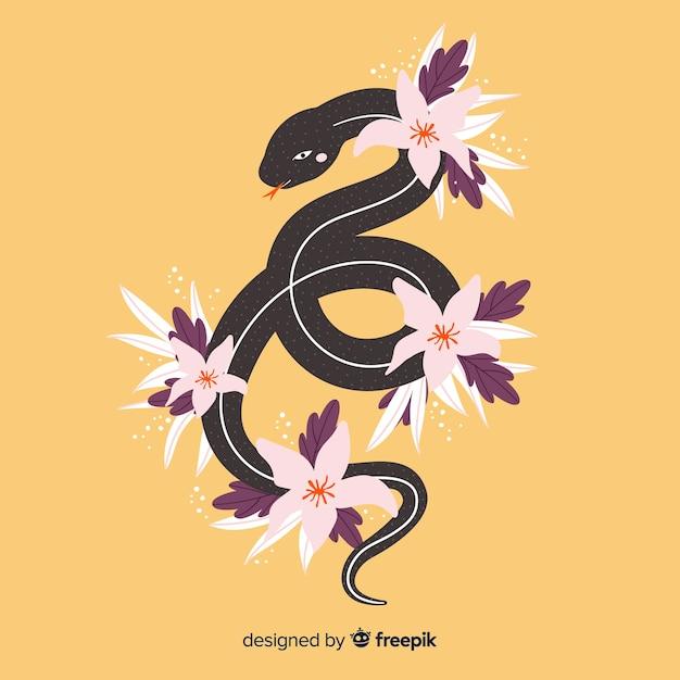 Serpente disegnato a mano con sfondo di fiori tropicali Vettore gratuito