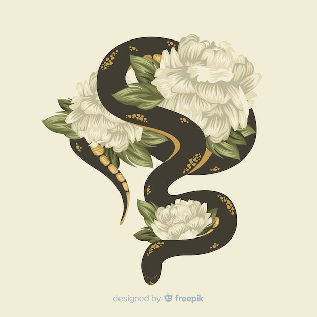 Serpente disegnato a mano con sfondo di fiori Vettore gratuito