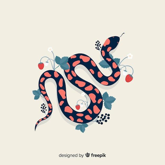 Serpente disegnato a mano di vista superiore con il fondo dei fiori Vettore gratuito
