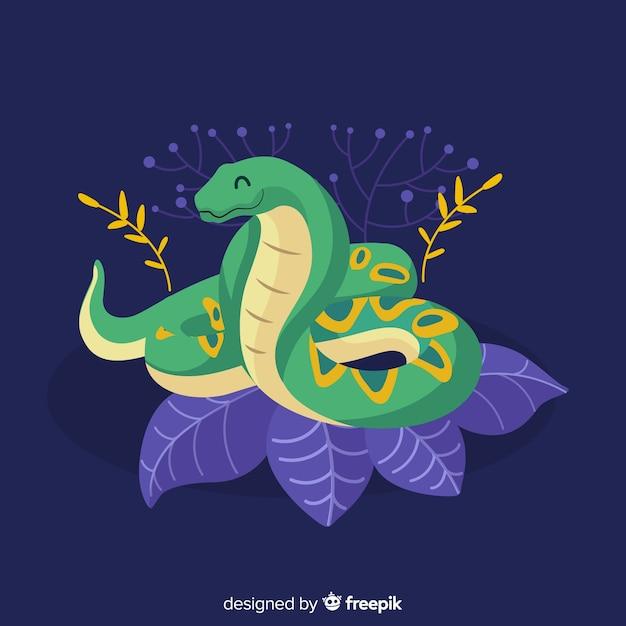 Serpente disegnato a mano realistico sul fondo delle foglie Vettore gratuito