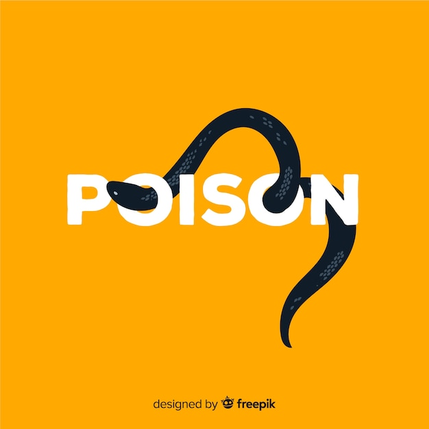 Serpente nero con sfondo di parola Vettore gratuito
