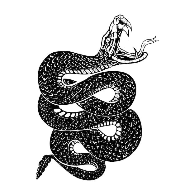 Serpenti a sonagli, illustrazioni a linee, linee di disegno Vettore Premium