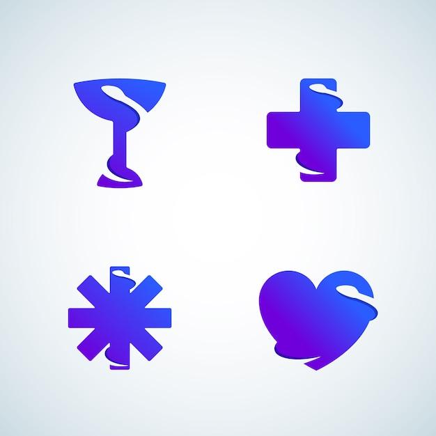 Serpenti di spazio negativo di simboli di medicina. segni astratti, emblemi, icone o logo template set. gradiente moderno. Vettore Premium