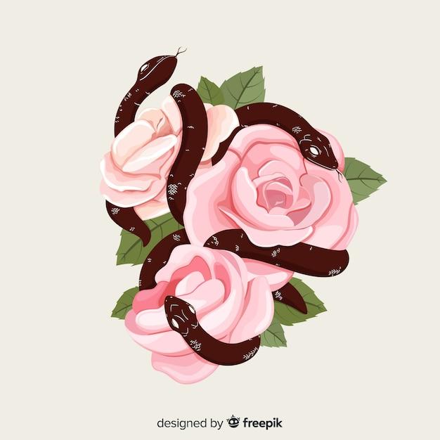 Serpenti disegnati a mano con sfondo di rose Vettore gratuito