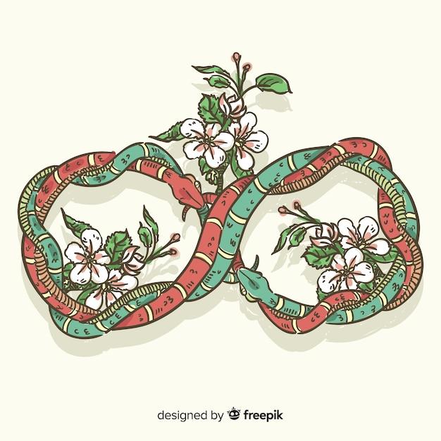 Serpenti intrecciati disegnati a mano con sfondo di fiori Vettore gratuito