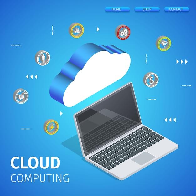 Server di hosting del data center collegato al laptop. Vettore Premium