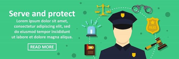 Servire e proteggere il concetto orizzontale di banner Vettore Premium