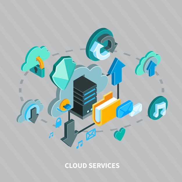Servizi della nuvola e concetto isometrico di archiviazione di file sicura su 3d grigio Vettore gratuito