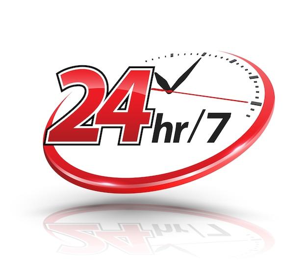 Servizi di 24 ore con scala dell'orologio Vettore Premium