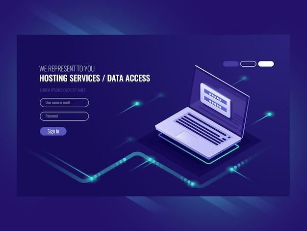 Servizi di hosting, modulo di autorizzazione utente, password di accesso, registrazione, laptop Vettore gratuito