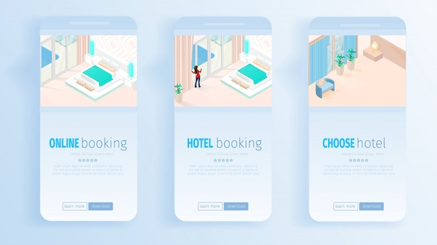 Servizi di prenotazione online di hotel per banner di vacanze Vettore Premium