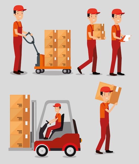 Servizi logistici con addetti alla consegna in team Vettore gratuito