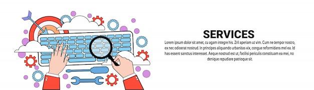 Servizi tech support concept modello di banner orizzontale Vettore Premium