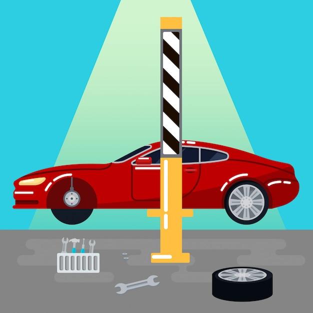 Servizio auto. riparazioni auto e diagnostica. maintanence automatico. illustrazione vettoriale Vettore Premium