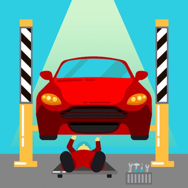 Servizio auto. riparazioni auto e diagnostica. maintanence automatico. serviceman al lavoro. illustrazione vettoriale Vettore Premium