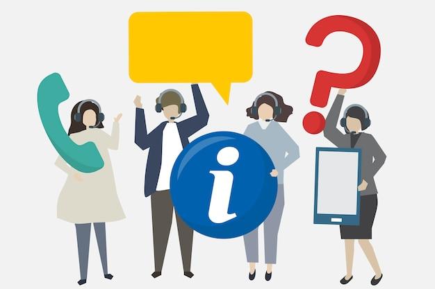 Servizio clienti con illustrazione icone Vettore gratuito