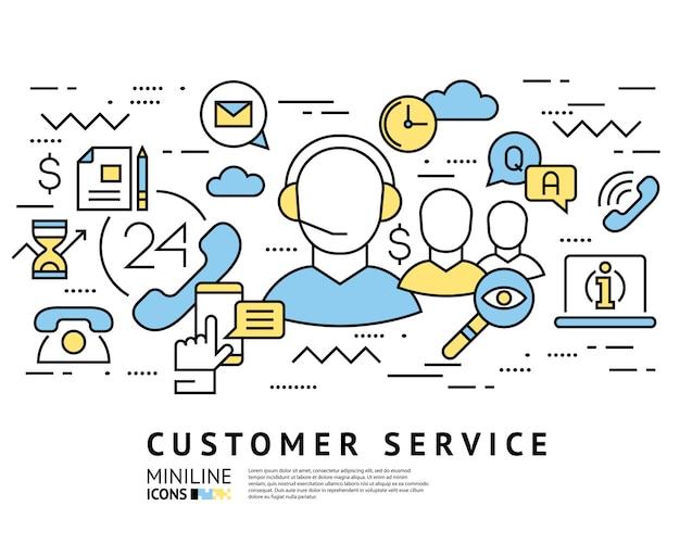 Servizio clienti, icone della linea di call center Vettore Premium