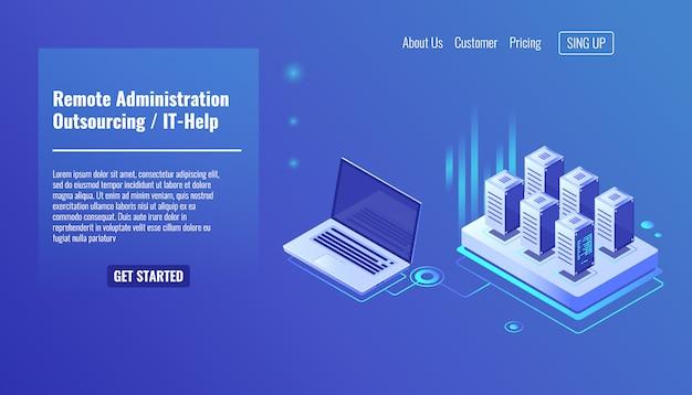 Servizio di amministrazione remota, concetto di outsourcing, aiuto, rack room del server Vettore gratuito