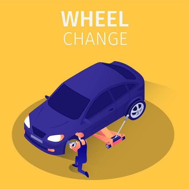 Servizio di cambio ruote isometriche in garage. Vettore Premium