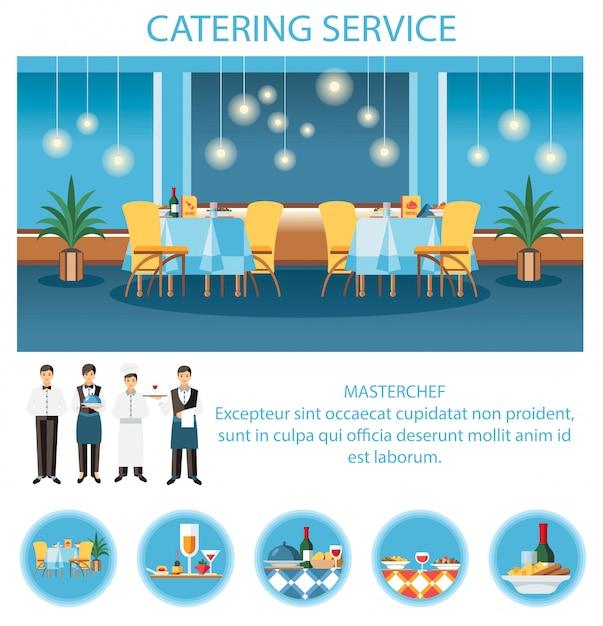 Servizio di catering per modello di pagina web per banchetti Vettore Premium