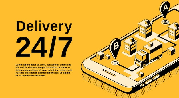 Servizio di consegna 24 7 illustrazione della tecnologia di localizzazione della logistica. Vettore gratuito