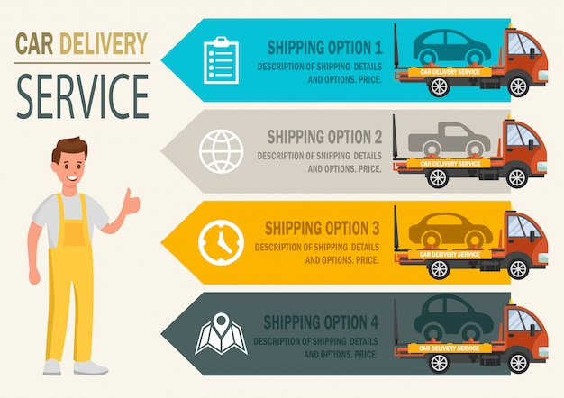 Servizio di consegna auto. vector piatta illustrazione. Vettore Premium