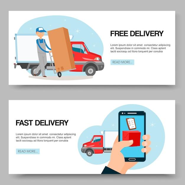 Servizio di consegna banner gratuiti e veloci Vettore Premium