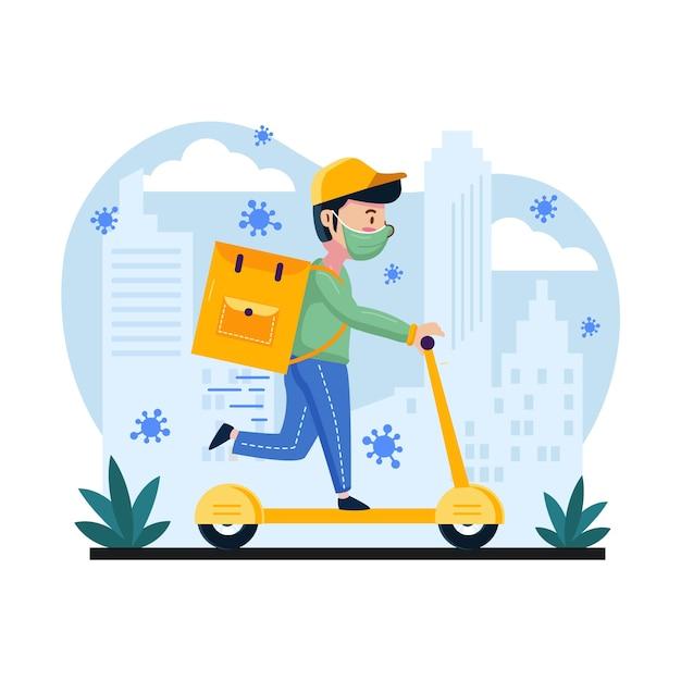 Servizio di consegna con uomo su scooter e maschera Vettore gratuito