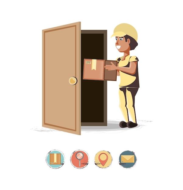 Servizio di consegna corriere con ilustration di vettore icona casella Vettore Premium