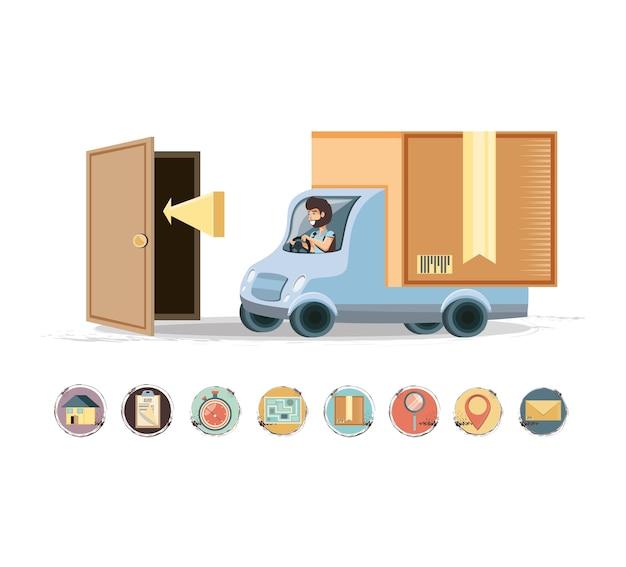 Servizio di consegna corriere nel vettore di icona di camion Vettore Premium
