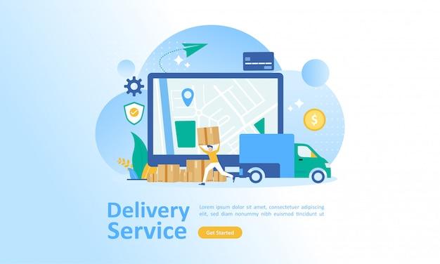 Servizio di consegna online in tutto il mondo Vettore Premium