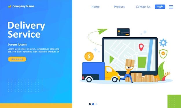 Servizio di consegna online per pagina di destinazione web Vettore Premium