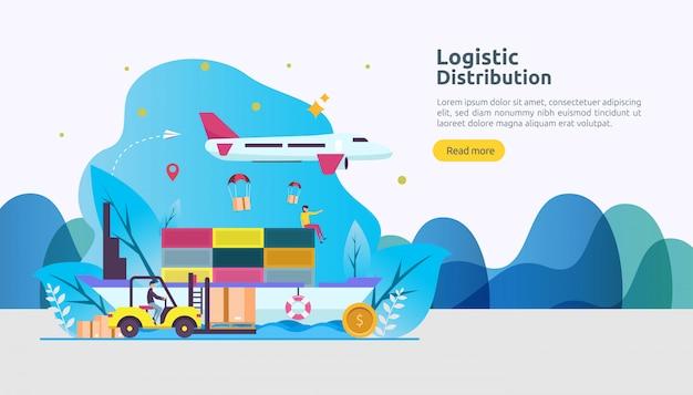 Servizio di distribuzione logistica globale e consegna in tutto il mondo di banner di spedizione con carattere persone Vettore Premium