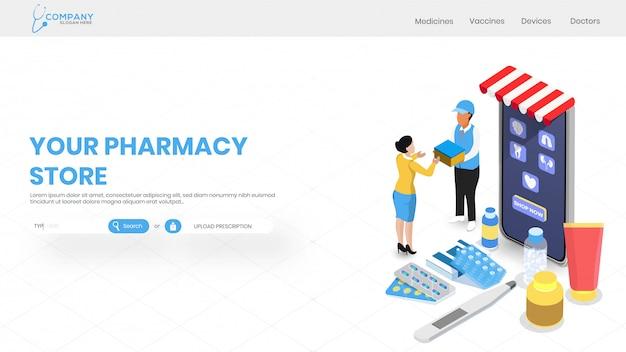 Servizio di farmacia online con vista isometrica del negozio di medicina. Vettore Premium