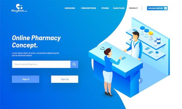 Servizio di farmacia online con vista isometrica del negozio di medicina Vettore Premium