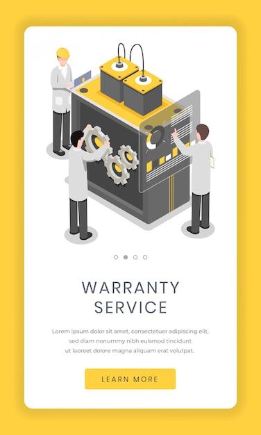 Servizio di garanzia, schermo di app mobile di riparazione. ricercatori di software e hardware che risolvono il problema Vettore Premium