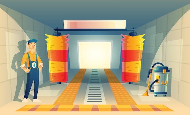 Servizio di lavaggio auto automatico con personaggio dei cartoni animati in scatola, garage. Vettore gratuito