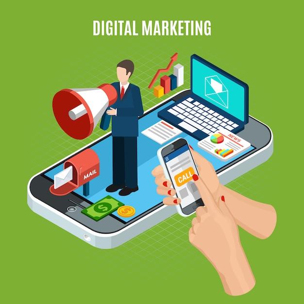 Servizio di marketing digitale isometrico con il computer portatile e la persona dello smartphone con l'altoparlante su verde Vettore gratuito