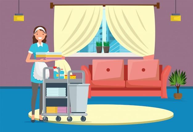 Servizio di pulizia della casa o dell'hotel, domestica in camera. Vettore Premium