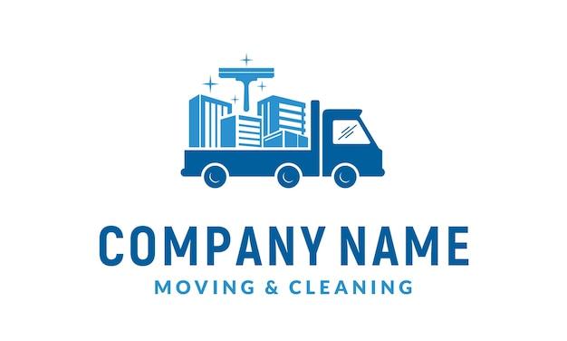 Servizio di pulizia e design del logo in movimento Vettore Premium